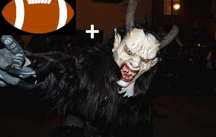 football and a monster